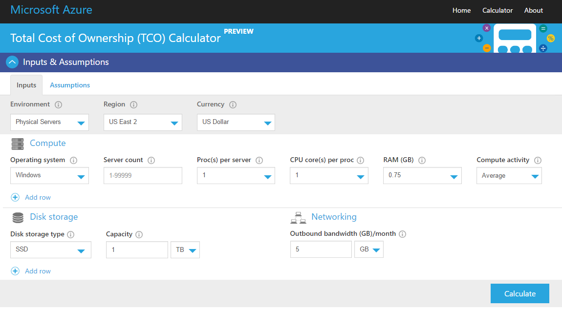 Cloud vs On-Premises: Cost (TCO) Calculator